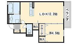 メゾンドボヌール秀B棟[1階]の間取り