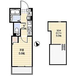 JR京浜東北・根岸線 大宮駅 徒歩8分の賃貸アパート 3階1Kの間取り