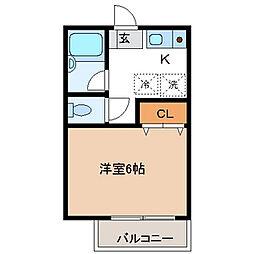 東京都世田谷区岡本2丁目の賃貸アパートの間取り