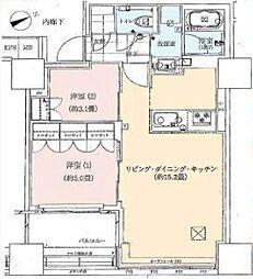 JR山手線 浜松町駅 徒歩10分の賃貸マンション 17階2LDKの間取り