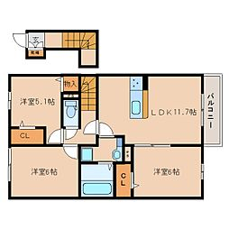 JR片町線(学研都市線) 木津駅 徒歩23分の賃貸アパート 2階3LDKの間取り