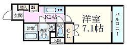 ファーストワン江坂 5階1Kの間取り