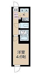 東京メトロ丸ノ内線 中野新橋駅 徒歩5分の賃貸マンション 1階1Kの間取り