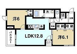 K'sコート奈良ウエスト 1階2LDKの間取り