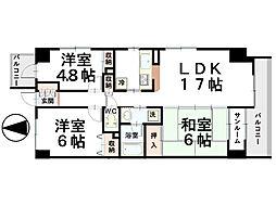 石川県金沢市此花町の賃貸マンションの間取り
