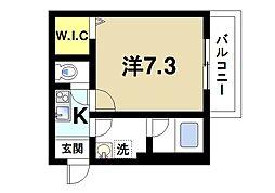 Alce田原本 2階1Kの間取り