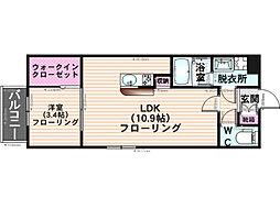 エルコスモ井尻[201号室]の間取り