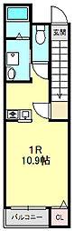 白萩町新築アパート 2階ワンルームの間取り