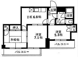 調布セントラルアパート[702号室]の間取り