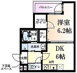 阪急神戸本線 西宮北口駅 徒歩14分の賃貸アパート 2階1Kの間取り