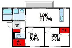 Shamaison M K Ash II[1階]の間取り