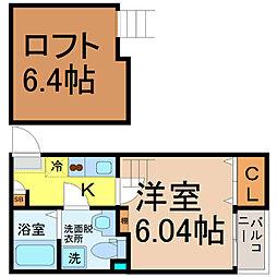 愛知県名古屋市中村区下中村町4丁目の賃貸アパートの間取り