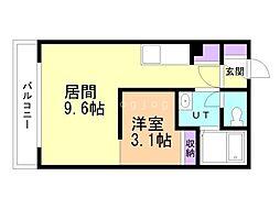 Southern Wind東札幌 4階1LDKの間取り