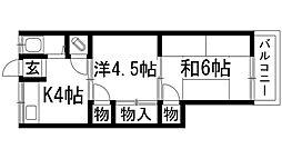 兵庫県西宮市生瀬東町の賃貸アパートの間取り