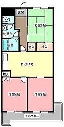 静岡県浜松市中区住吉1丁目の賃貸マンションの間取り