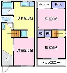 南海高野線 北野田駅 徒歩10分の賃貸一戸建て 1階3DKの間取り