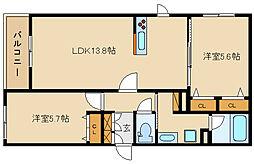 近鉄大阪線 法善寺駅 徒歩1分の賃貸マンション 2階2LDKの間取り