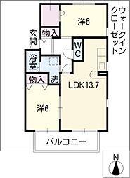 リブェールコートB棟[1階]の間取り