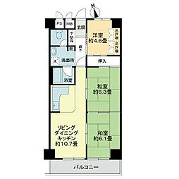 ライオンズマンション第6江坂[2階]の間取り