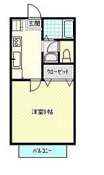 メゾンソレイユB棟 H[206号室]の間取り