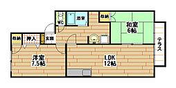 福岡県北九州市八幡西区三ケ森4丁目の賃貸アパートの間取り