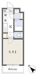 東京メトロ東西線 行徳駅 徒歩8分の賃貸マンション 2階1Kの間取り