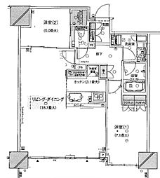 神奈川県横浜市西区みなとみらい3丁目の賃貸マンションの間取り