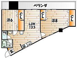 プリンセス黒住[2階]の間取り