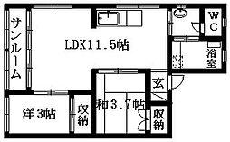 千代田ビル[3F 西号室]の間取り
