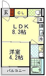 K-HOUSE FIRST 3階1LDKの間取り