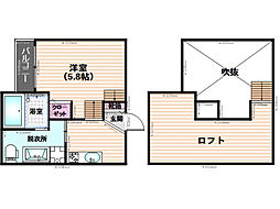 福岡県福岡市南区横手4丁目の賃貸アパートの間取り