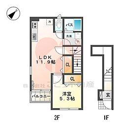 サンクエトワール上野芝 2階1LDKの間取り