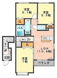 岡山県倉敷市玉島八島の賃貸アパートの間取り