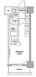 ザ・パークハビオ西大井 5階ワンルームの間取り