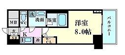 Osaka Metro御堂筋線 梅田駅 徒歩5分の賃貸マンション 6階1Kの間取り