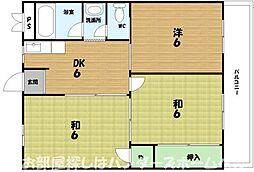 大阪府枚方市村野東町の賃貸マンションの間取り