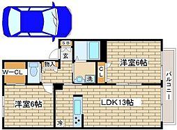 兵庫県神戸市須磨区若草町1丁目の賃貸アパートの間取り