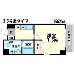 ラフォーレ松ヶ枝町[4階]の間取り