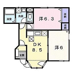 グランメール1[1階]の間取り