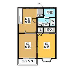 ヴィラネーユイセサキ[2階]の間取り