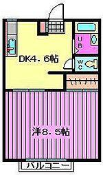 埼玉県蕨市塚越5丁目の賃貸アパートの間取り