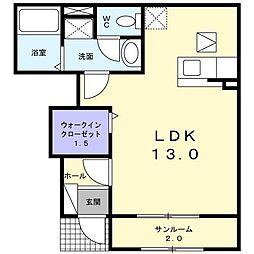 富山県富山市太田北区の賃貸アパートの間取り