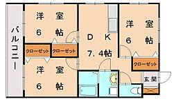 福岡県宗像市三郎丸5丁目の賃貸アパートの間取り