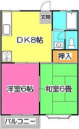 埼玉県所沢市小手指町1丁目の賃貸アパートの間取り