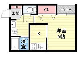 栄町日進ビル 1階1Kの間取り