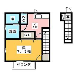 グリーンハウス西玉垣3 2階1Kの間取り
