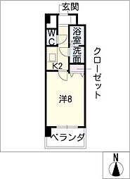 京屋ビル 8階1Kの間取り
