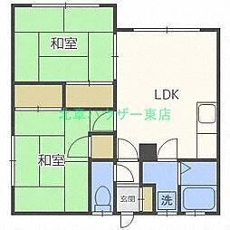 北海道札幌市東区北十七条東9丁目の賃貸アパートの間取り