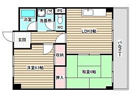 福島スカイハイツ[4階]の間取り