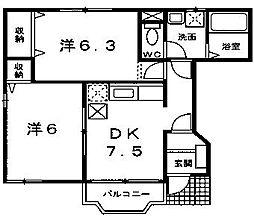 東京都町田市木曽西5丁目の賃貸アパートの間取り
